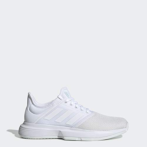 adidas Women's GameCourt Tennis Shoe, White/Blue Tint, 8 M US