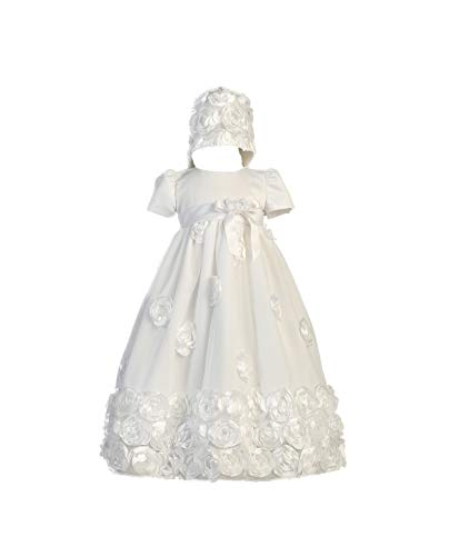 Floral Ribbon Tulle Christening Baptism Special Occasion Newborn Dress - M (6-12 Month, 13-17 lbs) ()