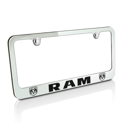 Logo License Products Plate - Dodge Ram Dual Logo Chrome Metal License Plate Frame