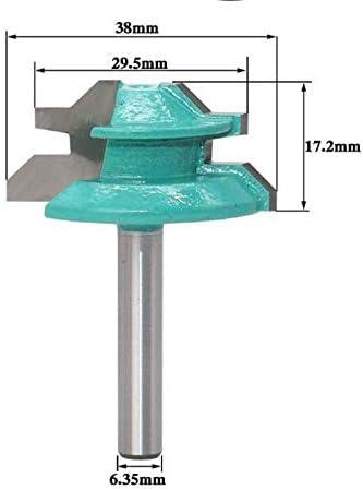 """NO LOGO ZZB-ZT, 1pc 1/4 Zoll Schaft Large Lock Gehrungsfräser - 45 Grad - 1-3/8""""Lager Zapfenschneider Werkzeug for die Holzbearbeitung (Size : As Show)"""