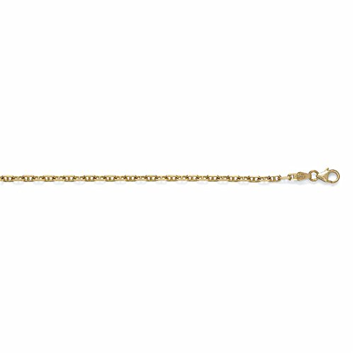 14k Yellow Gold 2.7mm Anchor Marine Solid Link Chain Necklace - (Marine Links 14k Gold Chain)