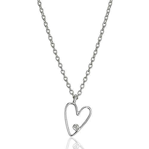 Molly B London | 925 Sterling Silver Girl's First Diamond Love Heart Necklace