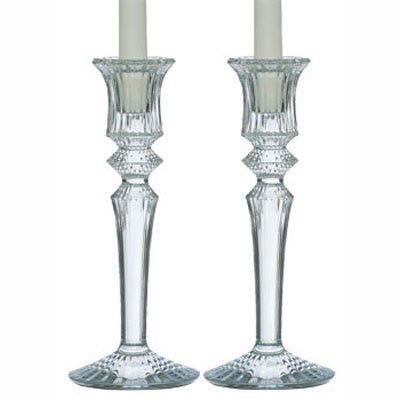 Clear Baccarat Crystal Mille Nuits Candlesticks Pair