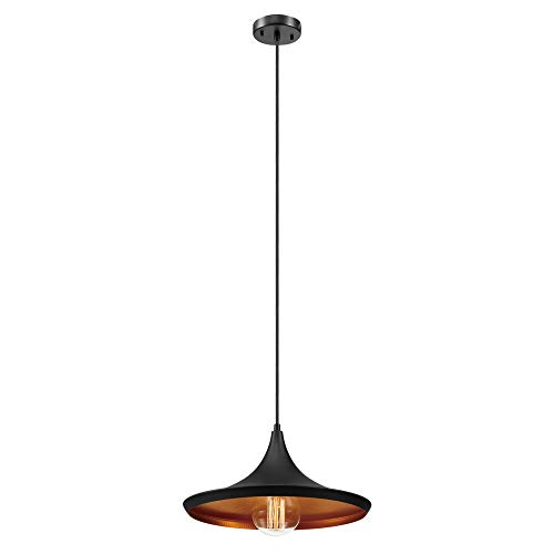 (Globe Electric 1-Light Flat Modern Industrial Pendant, Bronze, Oil Rubbed Finish, Gold Interior 63872)