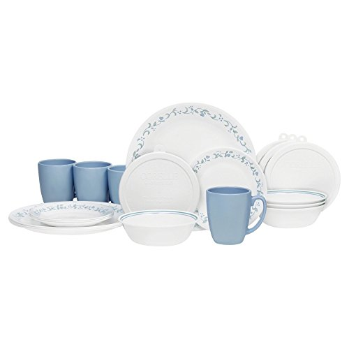 Corelle 20 Piece Livingware Dinnerware Set with Storage,Country Cottage, Service for (Corelle Livingware Country Cottage)