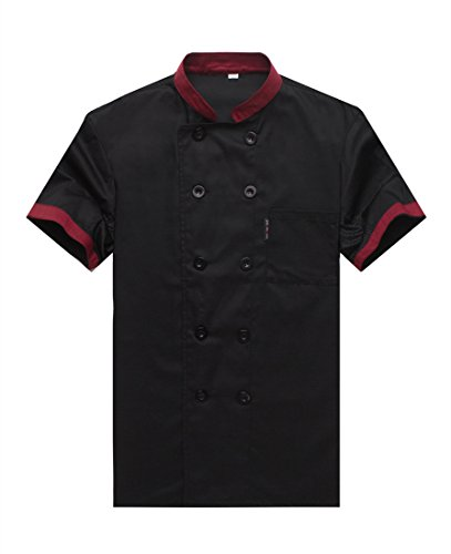 WAIWAIZUI Chef Jackets Waiter Coat Short Sleeves Underarm Mesh Size XL (Label:3XL) Black (Black Label Coat)