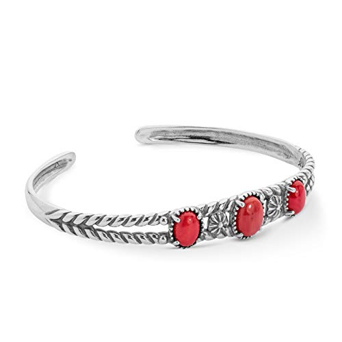 American West .925 Sterling Silver and Red Coral Three-Stone Twisted Floral Cuff Bracelet (Medium) ()