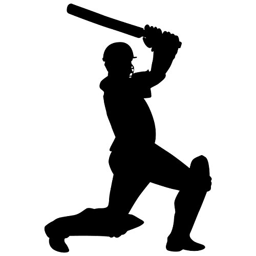 TheVinylGuru Cricket Wall Decal Sticker 9 - Decal Stickers and Mural for Kids Boys Girls Room and Bedroom. Cricket Ball Sport India Wall Art for Home Decor and Decoration - Cricket Silhouette Mural (Best Cricket Ball Brand In India)