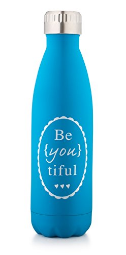 BeYOUtiful Charming Water Bottles–Reusable Stainless Steel Drinking Bottle With Inspirational Message –17OzInsulated Thermos Jug For Cold And Hot Drinks–Feel More Beautiful With Every Sip (Blue) (Scroll International Silver Modern)