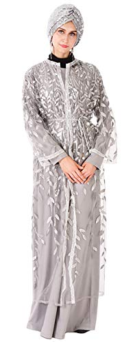 (LUOAIYI Women's Muslim Islamic Sequins Embroidery Loose Perspective Abaya Kaftan Gown,Gray,Tag XL = US Size)