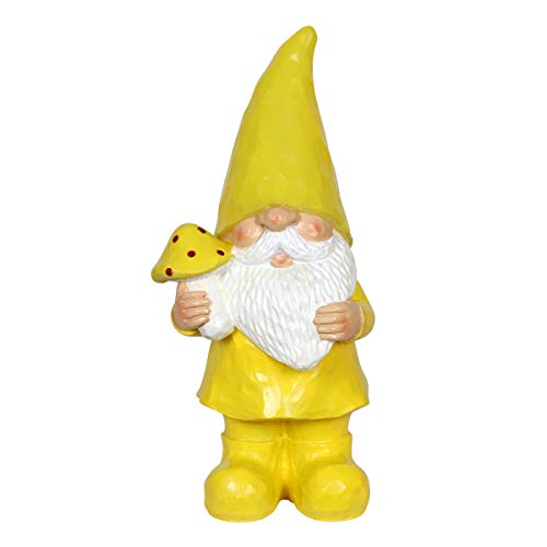 Exhart Solar Yellow Gilbert Gnome Garden Statue - Hand-Painted Gnome Resin Statue Holding a Bunch of Flowers w/Solar LED Decor Lights Gnome Hat - Solar Gnome Whimsical Decor, 11 Inches