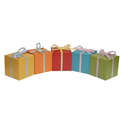 10 Decorative Favor Boxes for Wrapping Gifts 4x4x4 - Vintage European Pearlescent Paper in Assorted Colored (Gold Red Blue Green Orange)
