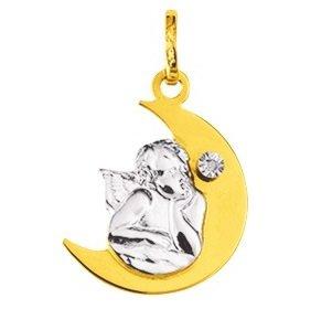 www.diamants-perles.com - Médaille Baptème - Médaille religieuse - Ange - Lune - Or Bicolore - 750/1000