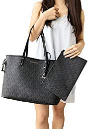 Michael Kors Jet Set Travel Large Drawstring Tote Black MK Signature