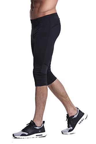 Truity Men's Stretchy Jogging Pants Performance Tight Moisture-Wicking Mesh Quick-Dry Leggings (Capri-Black, X-Large)