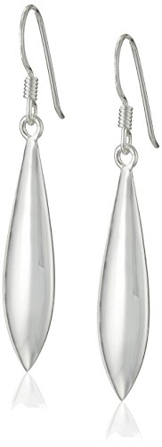 Sterling Silver High Polished Elongated Oval Puff Drop French Wire Earrings Sterling Silver Bean