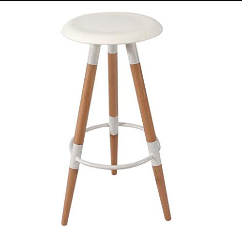 (QYSZYG Solid Wood Foot Bar Chair Cafe Western Restaurant Home High Stool Pp Seat Three Colors Optional (Color : White))