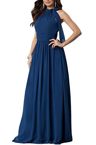 (Aox Women's Formal Chiffon Sleeveless A Line Halter Long Maxi Party Evening Dress Skirt (3XL, Blue) )
