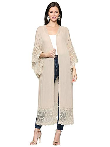 (Anna-Kaci Long Open Front Maxi Scallop Lace Boho Beach Coverup Kimono Cardigan,Latte,Small)