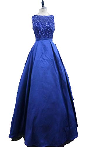 Evening Dresses Elegant O Neck Sexy Backless Satin Vestido Longo in Stock Floor Length,Blue,6