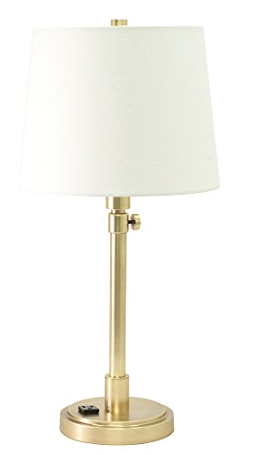House of Troy TH751-RB Townhouse Adjustable Table Lamp with Convenience Outlet, Raw Brass