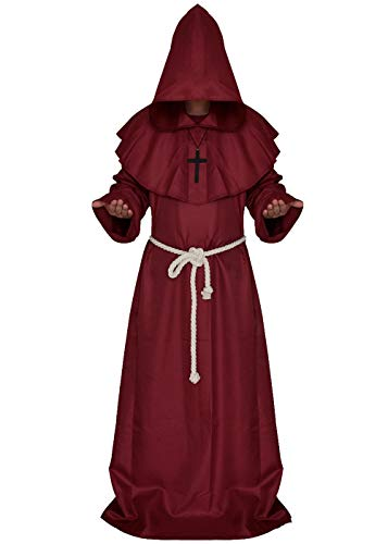 ALIZIWAY Friar Medieval Monk Priest Hooded Robe Renaissance Cloak Halloween Cosplay Costume Y052RS Red]()