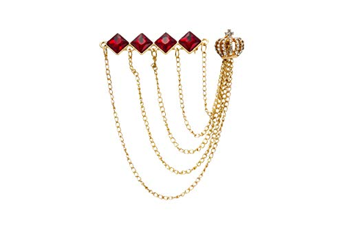 Knighthood Diamond Cut Red Stone Bar with Hanging Chains and Gold Crown Brooch