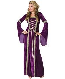 Fun World Women's Deluxe Renaissance Lady, Purple, Medium/Large 10-14 (Costume Queen)