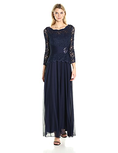 Cachet Women's Faux 2 Piece Lace Gown, Navy, 16
