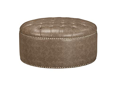 Ashley Furniture Signature Design - Wilcot Oversized Round Accent Ottoman - Button Tufted - Grayish Brown