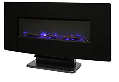 "Muskoka 36"" Curved Front Wall Mount Fireplace-Black Glass"