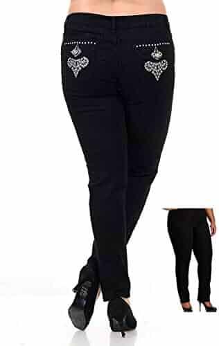 dcb1f37b160 Jack David Women s Plus Size Blue Black Curvy Stretch Flap Pocket  Skinny Bootcut Denim