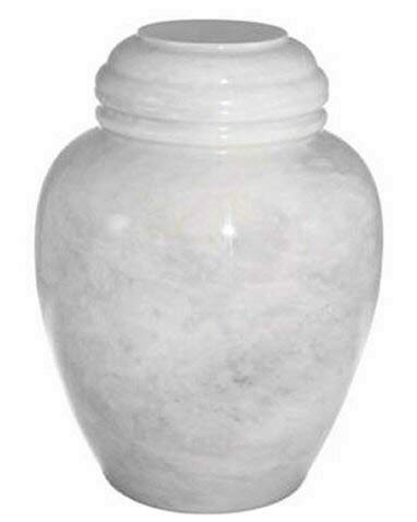 Khan Imports White Marble Pet Urn, Stone Pet Cremation Urn for Cat or Small Dog Ashes - Up to 20 Pounds