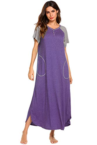 Ekouaer Womens Sleepshirts Long Night Gown Sleepwear (A-purple, XX-Large) - Long Gown Sleepwear