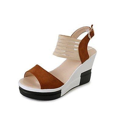 RUGAI-UE Moda de Verano Mujer sandalias casuales zapatos de tacones PU Confort caminar al aire libre,Almendros,US5.5 / UE36 / UK3.5 / CN35 Dark Brown