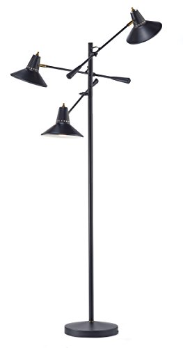 Adesso 3683-01 Nelson 3 Arm Floor Lamp, Smart Outlet Compatible, 29