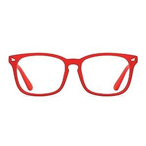 TIJN Unisex Wayfarer Non-prescription Glasses Frame Clear Lens Eyeglasses (H, Transparent)
