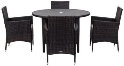 Safavieh 5 Piece Outdoor Collection Cooley Dining Set, Brown/Sand For Sale