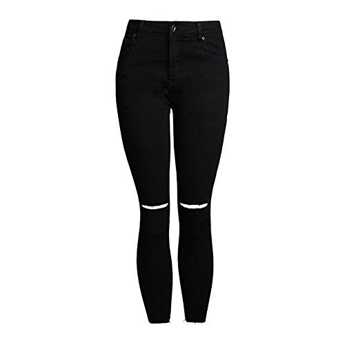Collants Haute Fit Noir Skinny Taille Rtro Slim Pantalon Femmes Vintage Denim Crayon Jeans Pants SANFASHION Trou Broderie Leggings Stretch REBqP8w