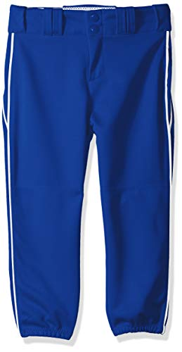 Alleson Ahtletic Girls Fast Pitch Softball Pants with Belt Loops, Royal/White, Large