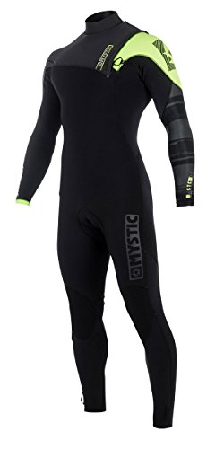 Mystic Watersports - Surf Kitesurf & Windsurfing Majestic 3/2MM Zip Free Wetsuit Black Lime - GBS (Glued Blind Stitched)