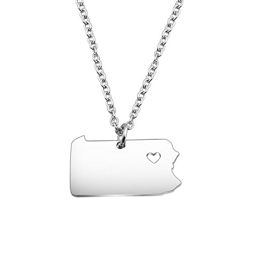 KUIYAI Pennsylvania Country Map Charm Pendant State Shaped Necklace with a Heart (Silver Pennsylvania)