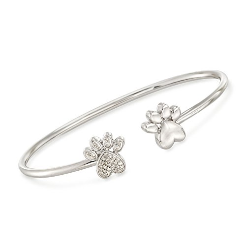 (Ross-Simons 0.15 ct. t.w. Diamond Double Paw Print Open Cuff Bangle Bracelet in Sterling Silver)