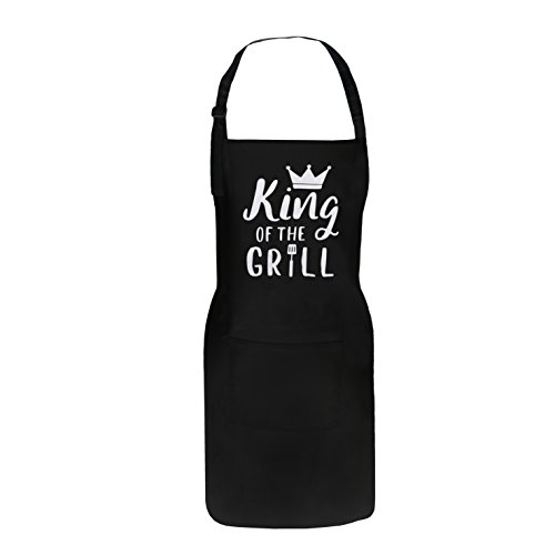 King of the Grill Apron, BBQ Grill Apron - Funny Apron for Men Dad, Personalized Birthday Kitchen Gifts for Him Husband by Fodiyaer
