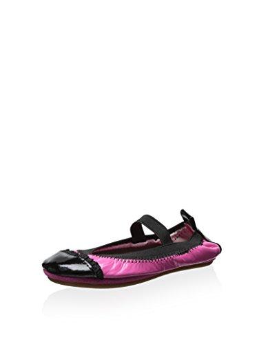 Yosi Samra Kid's Two Tone Ballet Flat, Pink/Black, 6 M US Toddler