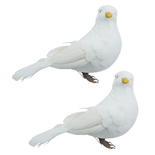 Buorsa 2Pcs Fake Doves Artificial Foam Feather White Birds with Feet,Decorative Craft Bird for Home Ornaments,Wedding Decor