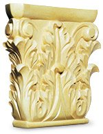White River # CM2459, Medium Corinthian Capital, 8 inch W x 1-3/4 inch D x 8 inch H, Maple by White River
