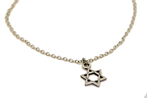 (Star of David Anklet, Silver Chain Anklet with Dangle Silver David's Shield Charm, Ankle Bracelet, Gift for her, Jewish Jewelry, Minimalist)