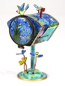 Starry Night Art Gifts Inc ES0055 Kelvin Chen Enameled Postage Stamp Holder