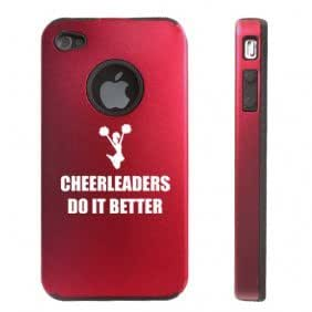 Apple iPhone 4 4S 4 Red D5136 Aluminum & Silicone Case Cover Cheerleaders Do It Better
